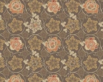 "Stella Vines Brown by David Textiles Stella's Collection 44"" Quilting Cotton"