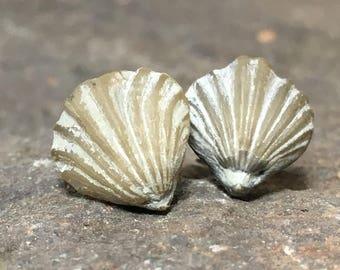 Fossil Studs, Fossil Earrings, Shell Earrings, Fossil Brachiopod, Beach Earrings, Primal Earrings, Primitive Earrings, Rustic Studs PER-104