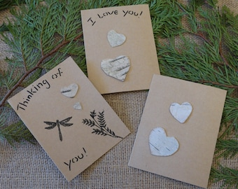 Set of 3 Birch bark greeting cards,dragonfly and heart cards,Bird themed cards,Valentine's Day card,anniversary cards,special occasion cards