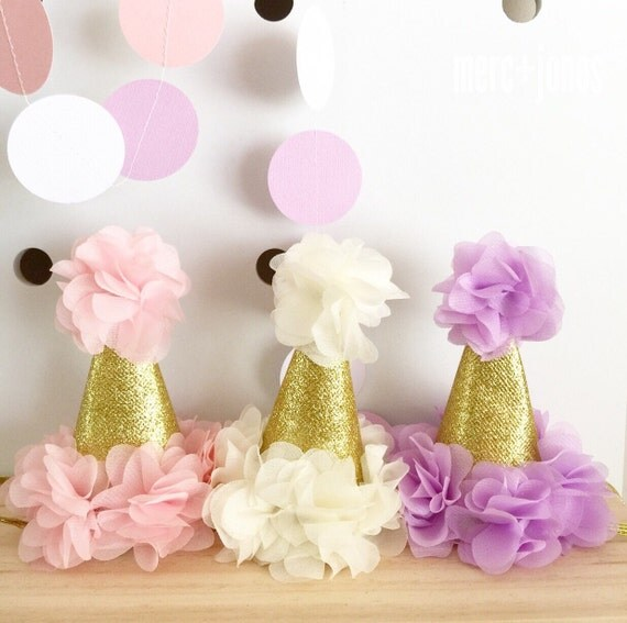 Gold Glitter First Birthday Party Hat   Cake Smash Party Hat   Gold Ruffle Party Hat   Pink Ivory Lavender Fuchsia Party Hat