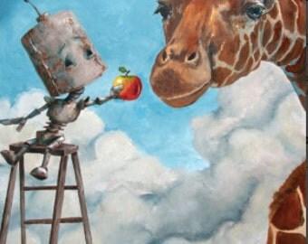 Giraffe Robot Painting Print