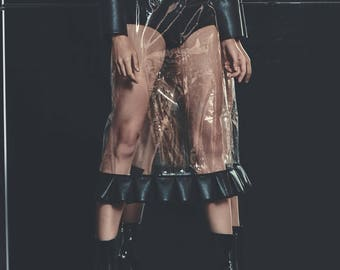 Transparent Skirt - Skirt - Pencil Skirt - Clear Skirt- Designer Apparel - Pencil Skirt - Sheer - PVC - Clear Plastic - Futuristic Clothing