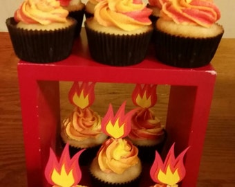 12 Fire Cupcake Toppers
