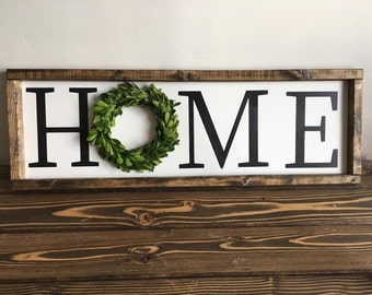 Home boxwood wreath farmhouse sign