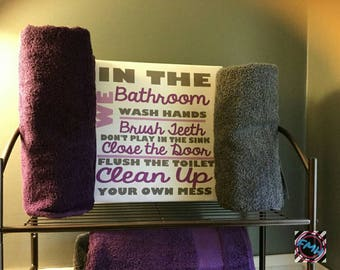 Bathroom Rules Sign/Canvas