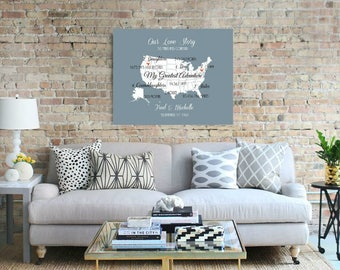50th Wedding Anniversary Gift Where Our Love Has Traveled Wall Art Us Map Anniversary Canvas Print Gift For Parents Gift For Husband -384779