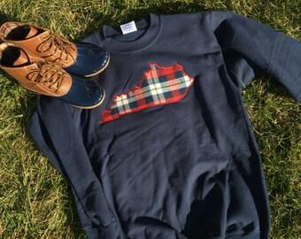 Kentucky Navy Plaid Monogram Sweatshirt