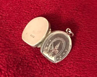 SALE!!! 1899 Antique Victorian English Sterling Silver Horseshoe Locket Watch Fob