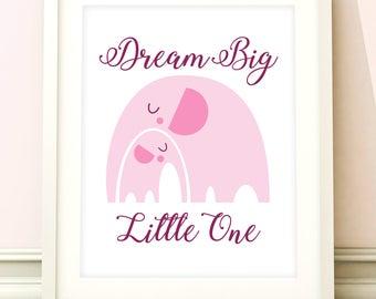 Elephant nursery art, baby girls print, nursery print, elephant nursery art, girls bedroom, baby girl room, kids room, nursery decor, pink