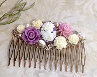 Comb Cameo Pretty Lavender And White Alligator Hair Comb
