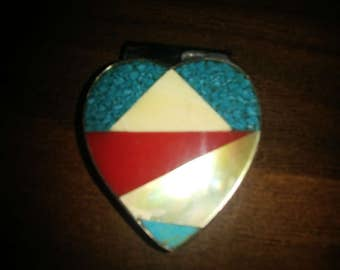 Vintage Southwest Style Inlaid Heart Shaped Money Clip.  (9999653)