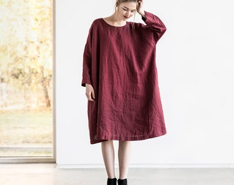 Oversized loose fitting linen dress with DROP SHOULDER long sleeves in deep burgundy / Washed linen tunic