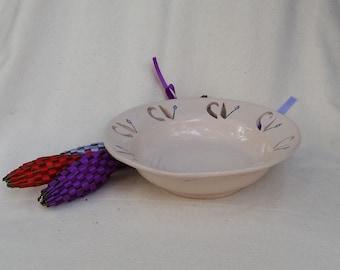 OOAK Bowl Porcelain Cutwork Carved Rim Wheel Thrown Soup Salad Cereal