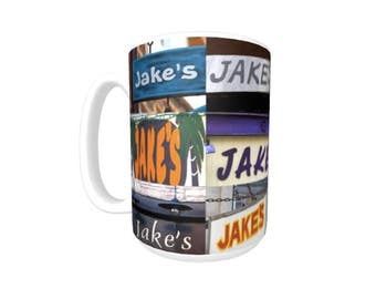 Personalized Coffee Mug featuring the name JAKE in photos of signs; Ceramic mug; Unique gift; Coffee cup; Birthday gift; Coffee lover