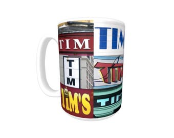 Personalized Coffee Mug featuring the name TIM in photos of signs; Ceramic mug; Unique gift; Coffee cup; Birthday gift; Coffee lover
