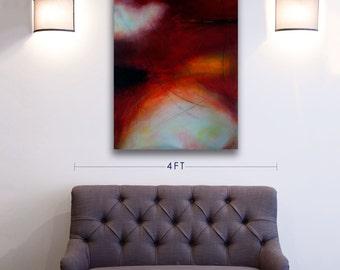ORIGINAL Modern Art Abstract Painting Wall Decor Mixed Media Red, Yellow, Dark Acrylic, Watercolour Painting on Canvas, Toronto