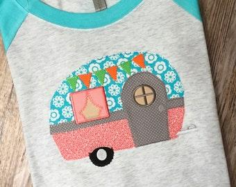 Camper Applique and Embroidered Raglan 3/4 Sleeve Baseball Shirt Baseball Tee
