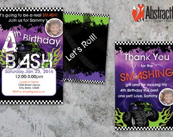 Monster Truck Invitation and Thank You card - Personalized Boy Birthday Invitations - Download