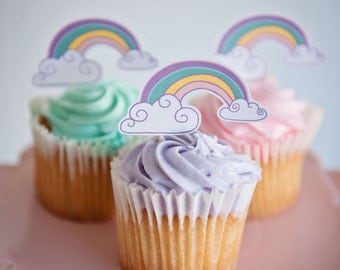 Rainbow cupcake toppers, Pastel Rainbow Cupcake toppers 12 pack