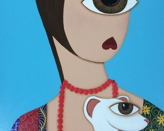 Cyclops Ermine with Lady, original acrylic painting, pattern, one eyed, abstract, series, OOAK