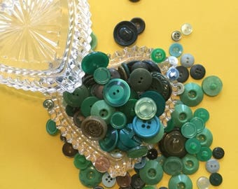 Vintage Plastic Buttons - Heart of Glass