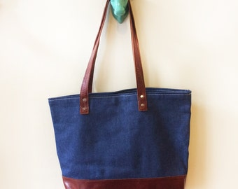 Tote - Selvedge Denim and Leather - Handmade American