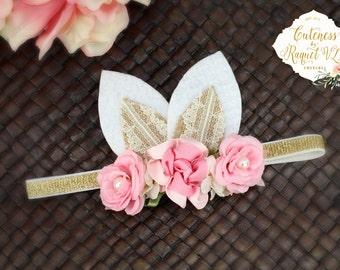 Easter Bunny Ears - Easter Headband - Spring Headband - Baby Headband - Cute -  Pink Headband - Easter Bunny - Photo Props - Baby Headband -