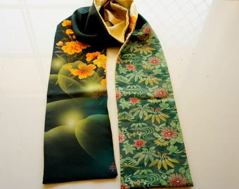 Japanese silk kimono hand made scarf made from new material **S51**