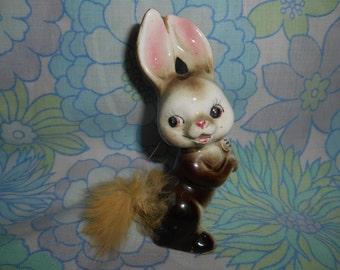 "Cute Vintage Retro Kitsch 1960s 'Easter' Bunny Rabbit With Fluffy Tail Accent Ornament Approx 4"" x 1.5"""