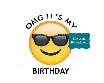 Instant Download, Emoji, Emoticon, sunglasses, smiling, Emoji Party, Emoji Birthday, T shirt Printable Iron On Transfer Sticker, Shirt
