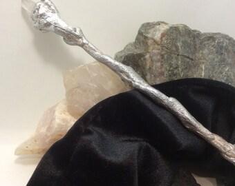 silver leaf clear quartz raw point wand