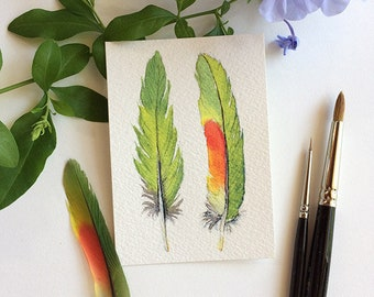 Watercolour ACEO Green Feather miniature painting 2.5x3.5 inches - Australian nature gift - green artist trading card - original art