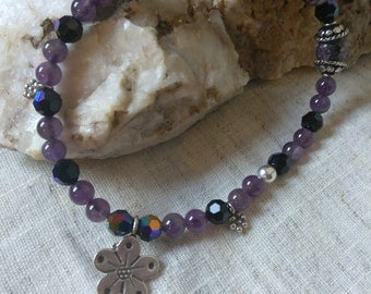 Amethyst stretchy bracelet Swarovski Crystals, Sterling Silver Fits 8.5-10 inch. Wrist purple