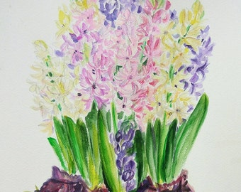Hyacinth flowers, original watercolor painting, pastel pink, purple, yellow, aquarela bulb flowers, gift for her, wall art, spring gift idea