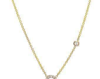 Diamond initial with bezel necklace