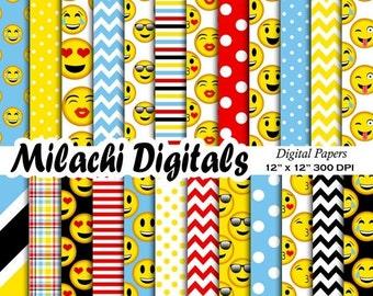 60% OFF SALE Emoji digital paper, emoticon scrapbook papers, emoji faces wallpaper, emoji background - M481