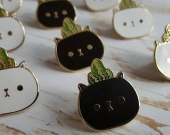 Cat Planter Enamel Pin!