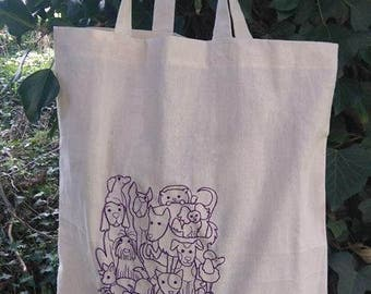 Dog lovers embroidered cotton shopper bag