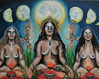 Moon Sisters-original acrylic&UV painting on a deep edge canvas