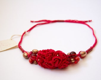 Red Bouquet necklace-Valentine-crocheted cotton, copper, wood and glass elements