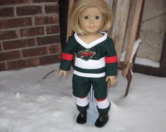 "Wild Hockey Uniform for American Girl Dolls & Other 18"" Dolls"