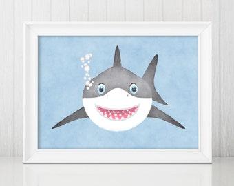 Baby Shark Watercolor Print, Shark Art, Shark Nursery Art, Boy Nursery Decor, Shark Nursery Print, Baby Animals, Cute Shark