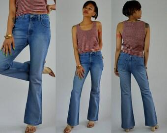 "Flare | 28.5"" | 1990s Blue Denim Flare Jeans 90s Vintage High Waisted Pants"