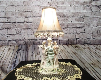 Antique Vintage Table Lamp 3 Lady Figures With Lamp Shade