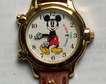 Disney Retired CHIME ALARM musical Mickey Mouse Watch! Alarm, music!! new! hard to find!
