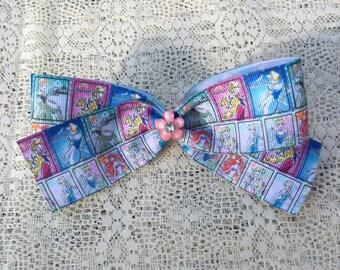 Princess Sketch Ribbon Hair Bow / Rapunzel / Cinderella / Ariel / Elsa / Anna