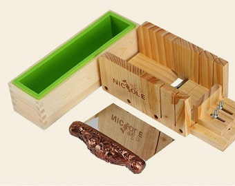 3pcs/set Loaf Soap Mold Set Wooden Box DIY Soap Cutter Tools With Stainless Steel Blade