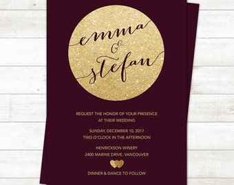 Burgundy Wedding Invitation, Burgundy Invitation, Burgundy Wedding, Wedding Invitation Printable, Wedding Invitation Template