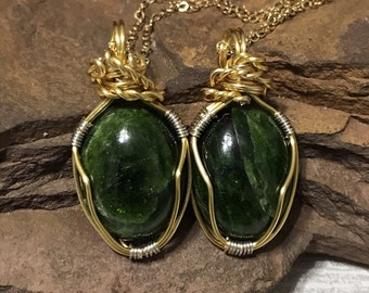 Chrome Diopside Necklace, Wire Wrapped Chrome Diopside Cabochon Necklace, Chrome Diopside Jewelry