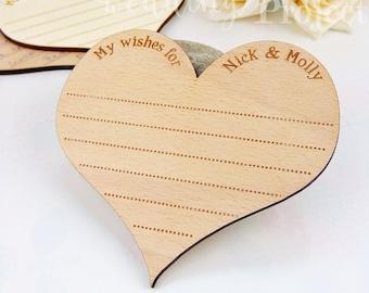 Custom Heart Wedding Coaster, Engraved Advice Card, Wooden Coaster, Rustic Wedding Decoration, Wedding Favors, Wedding Guestbook Alternative